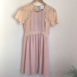 Peach Lace Maternity Dress